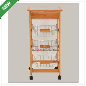 (SM-CC-009) Pine Wood Good Quality Kitchen Trolley