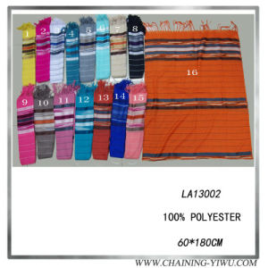 2014 Fashion Viscose Scarf with Horizontal Strip (LA13002)