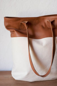 Custom High Quality Canvas Leather Bag Adies pictures & photos