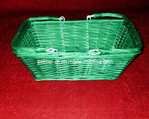 Green Square Willow Basket with Folding Handles (WBS008)