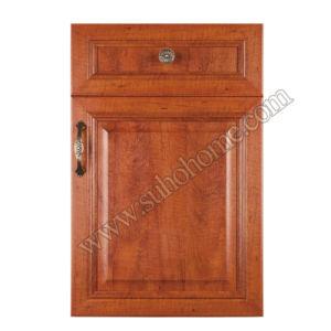 European Style MDF Kitchen Cabinet PVC Door Zz65A (Golden Cherry)