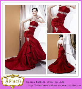 Sexy Fashionable Floor-Length a-Line Sweetheart Beaded Taffeta Court Train Red and White Wedding Dresses (BD10040)