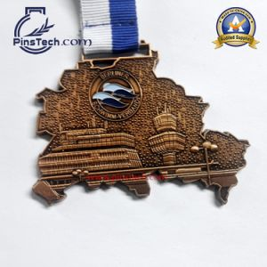 Marathon Run Medal with Spray Painting Finish, Heat Transfer Ribbon pictures & photos