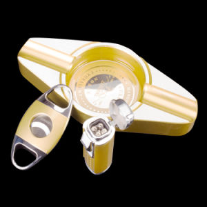 Lubinski High-Quality Yellow Ashtray Cutter Lighter Set Cigar Suit (ES-LI-009) pictures & photos