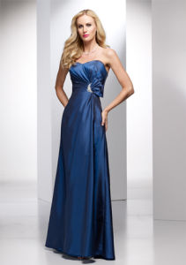 Navy Blue Beaded Waist Bridesmaid Gowns (BD3025) pictures & photos