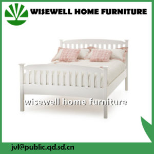 Pine Wood White Color Latest Bed Designs (W-B-0093) pictures & photos