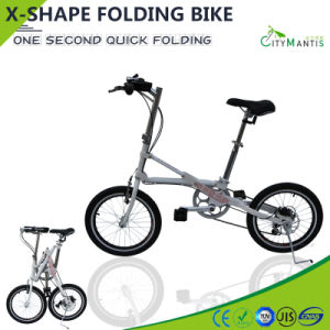18 Inch Adult Folding Bike X Shape Quick Folding Bicycle pictures & photos
