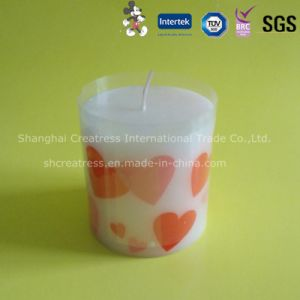 Printed Heart White Wax Pillar Candle pictures & photos