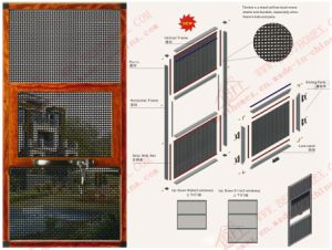 Three Section Woodgrain Aluminium Slide-up Flyscreen (BHN-TR0) pictures & photos