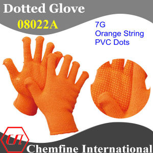 7g Orange Polyester/Cotton Knitted Glove with Orange PVC Dots pictures & photos
