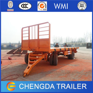 China Best Price Tri Axles Flatbed Draw Bar Full Trailer for Sale pictures & photos
