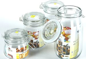 Stylish Clip 5 Sets Glass Storage Jar Kitchen Sweet Containers pictures & photos