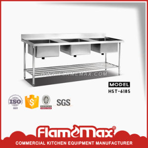Hst-618s Stainless Steel Triple Sink Table with Perforated Shelf pictures & photos