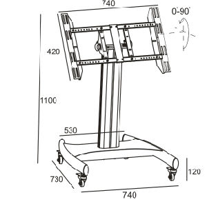 """Public TV Floor Stand Wheelbase Touch Screen 32-55"""" (AVA 102C) pictures & photos"""
