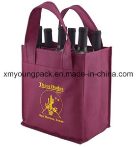 Eco-Friendly Reusable Non-Woven Fabric 6 Bottle Wine Carry Bag pictures & photos