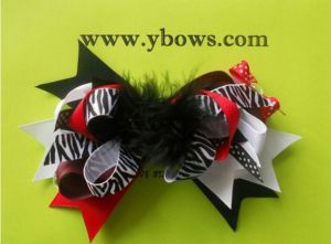 Black Feather Kids Bows, With a Big Crystal and Zebra Printed Ribbon
