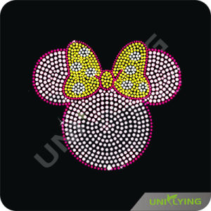 Pink Minnie Mouse Head Rhinestone Transfer Strass (CT1608)