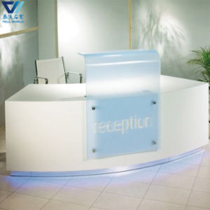 Factory Custom Made Fancy Style Curved Design LED Light Corian Office Reception Table pictures & photos