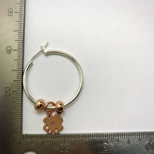 Simple Style Two Tone Plated Cooper Hoop Gold Huggie Clover Earring pictures & photos