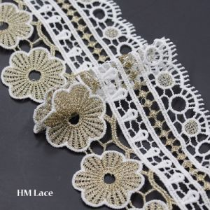 10cm Wide Gold Eyelash Embroidery Lace Trim Floral Pattern 162 pictures & photos