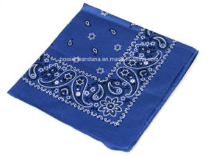 China Factory OEM Produce Customized White Logo Two Sides Printed Cotton Blue Bandanna pictures & photos