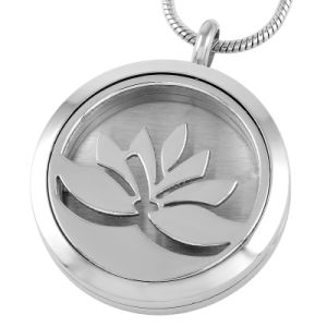 Polished Lotus Essential Oil Diffuser Necklace Engraved Perfume Pendant pictures & photos