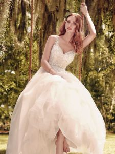 Sleeveless Bridal Gowns Hand Sew Beads Tulle Wedding Dress Yao117 pictures & photos
