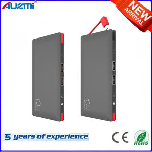 Ultrathin 8000mAh Dual USB Power Bank with Cables pictures & photos