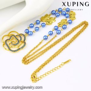 43290 Fashion Latest Design Beads Necklace with Flower Gold-Plated pictures & photos