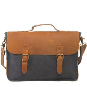Genuine Leather Canvas Compture Laptop Handbags (RS-2016) pictures & photos