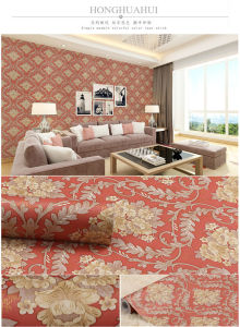 Removable Peel and Stick Red Color Self Adhesive Wallpaper
