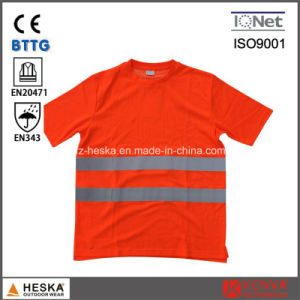 Round Neck Reflective Safety Short Sleeve Hi Vis Cotton Shirt pictures & photos