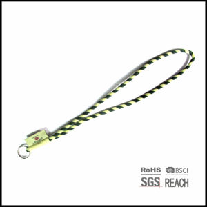 Custom Logo Polyester Woven String Neck Strap Lanyard with Keyring and Woven Label pictures & photos