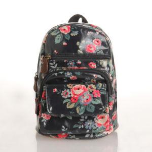 Black Waterproof PVC Canvas Retro Floral School Backpack (23041)