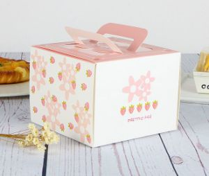 Cheap Brown Kraft Paper Cake Box with Handle pictures & photos