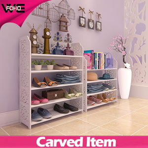 DIY Carved White Plastic-Wooden Floating Shelves for Living Room pictures & photos