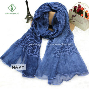 High Quality Shawl Lady Fashion Silk Scarf with Rose Embroidery pictures & photos