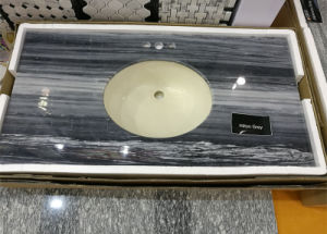 One Sink Countertop Hilton Grey Prefab Vanity Top for Construction pictures & photos