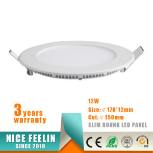 Super Thin 12W Round LED Panel Embeded Ceiling Light pictures & photos
