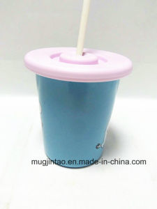 Funnel Shape Enamel Coffee Cup V Cup Whit The Silicone Lid Not Sliding Sideways pictures & photos