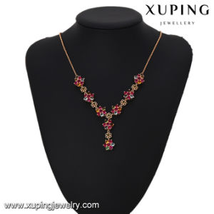 43448 Fashion Charm CZ Colorful Flower Necklace in Gold Plated pictures & photos