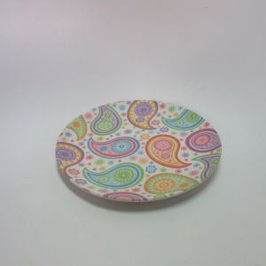 Bamboo Fiber Round Plate Paisley Design Table Ware Dinner Ware pictures & photos