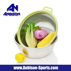 2PCS Vegetables Wash Stainless Steel Pots Rice Fruits Sieve Basket pictures & photos