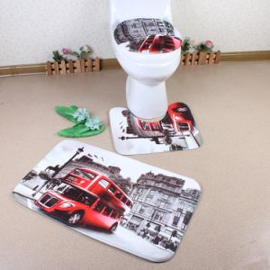 Washable Comfortable Non-Slip Toilet and Bath Custom Printed 3 Piece Bathroom Mat Set pictures & photos
