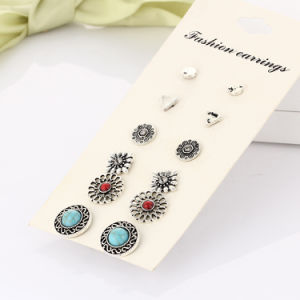 Imitation Jewelry- Turquoise Crystal Stud Earrings Set Charming Retro Anti Silver Color Earring Fashion Women Jewelry pictures & photos