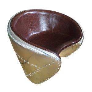 Retro Leisure Aluminum Leather Parlor Chair pictures & photos