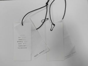 White Card Printing with Black Waxed String Hangtag pictures & photos
