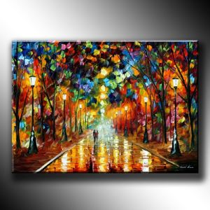 Abstract Oil Painting for Living Room Beautiful Palette Knife Painting Pictures Landscape After The Rain Handpainted with Texture