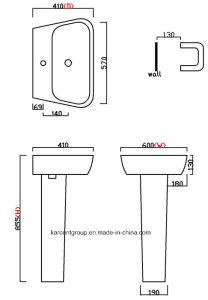 2016 New Design Ce Certification Pedestal Basin Pb16003 pictures & photos