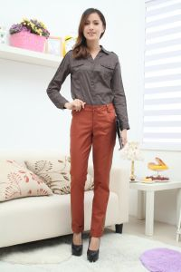 Stock! Ladies Gray Blouse with Chest Pocket pictures & photos